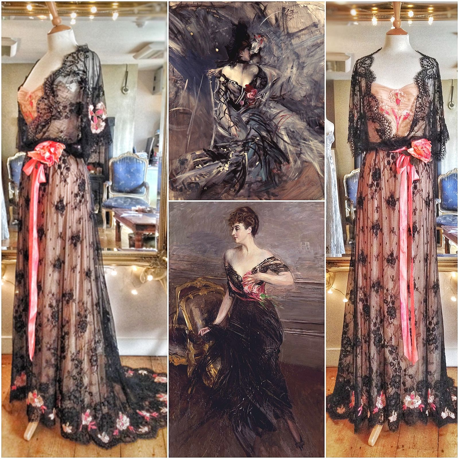 black lace Edwardian inspired evening gown by Joanne Fleming Design