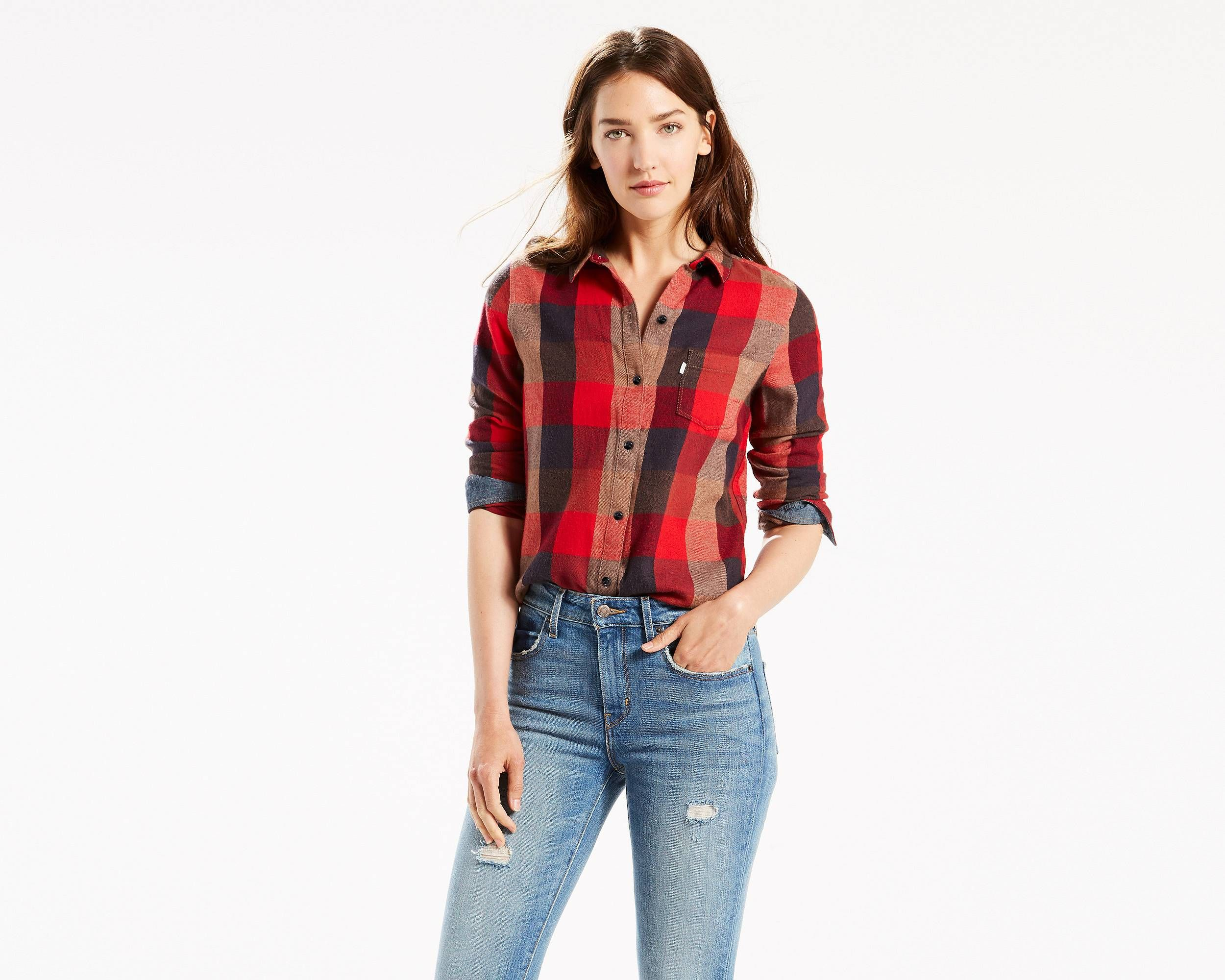 Red flannel around waist  This classic shape is a canvas for your individual style In perfect