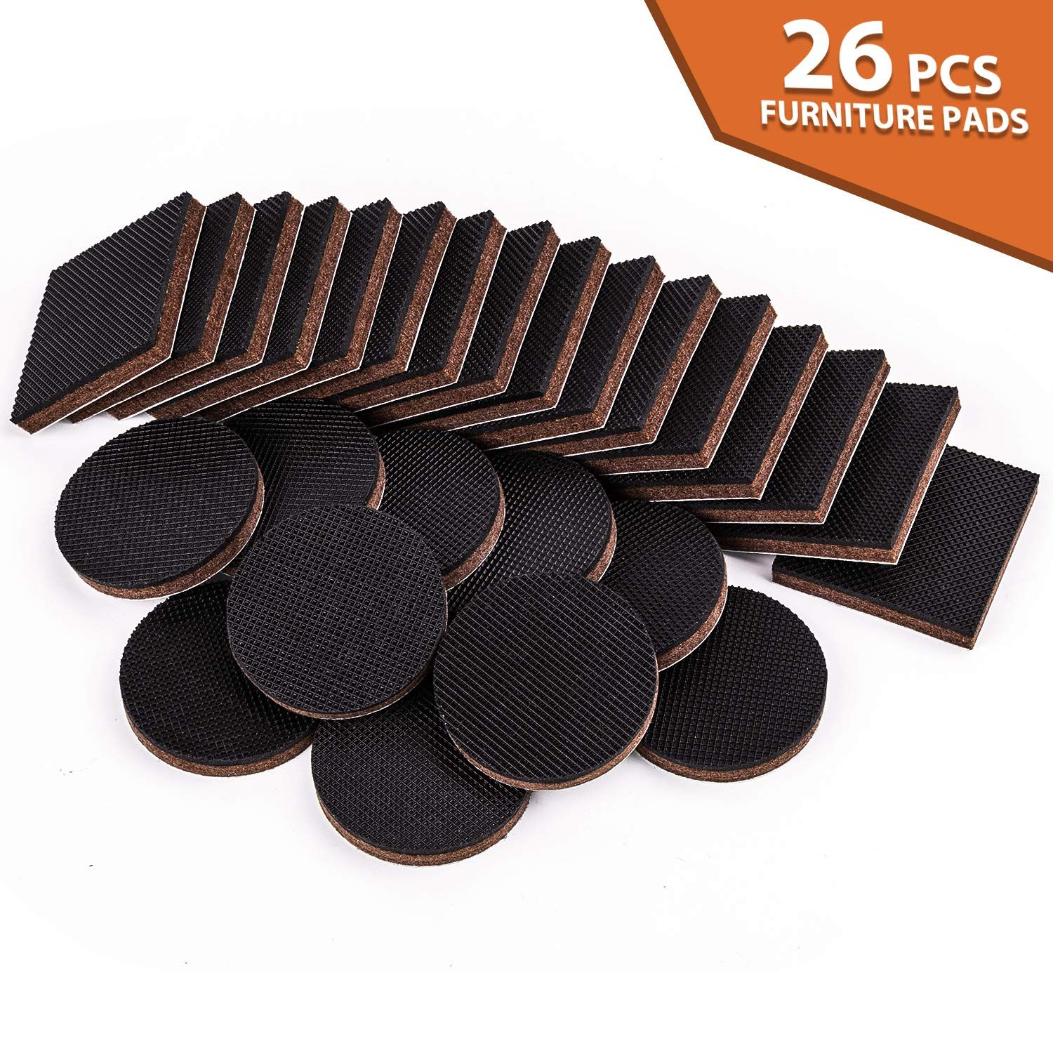 Non Slip Furniture Pads 26pcs Rubber Furniture Grippers Self