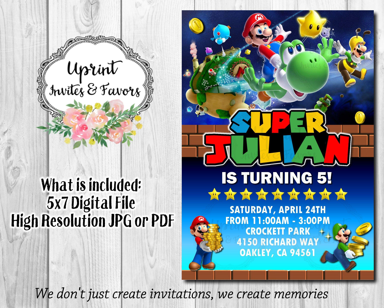 Super Mario Birthday Invitation Mario Bros Birthday Invitation