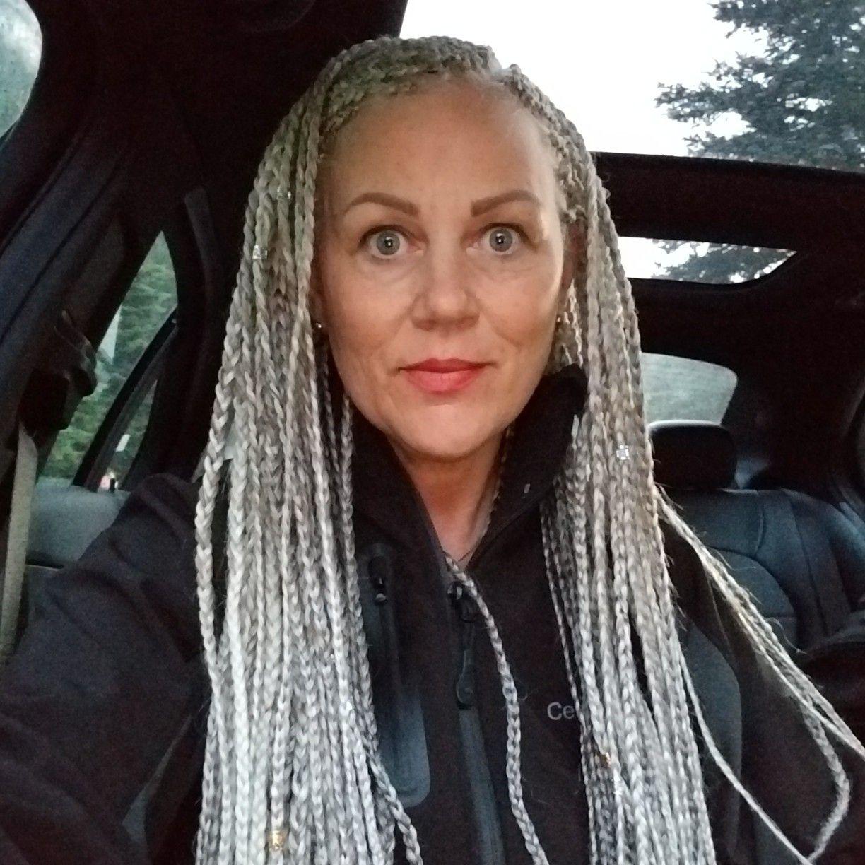 silver braids little longer