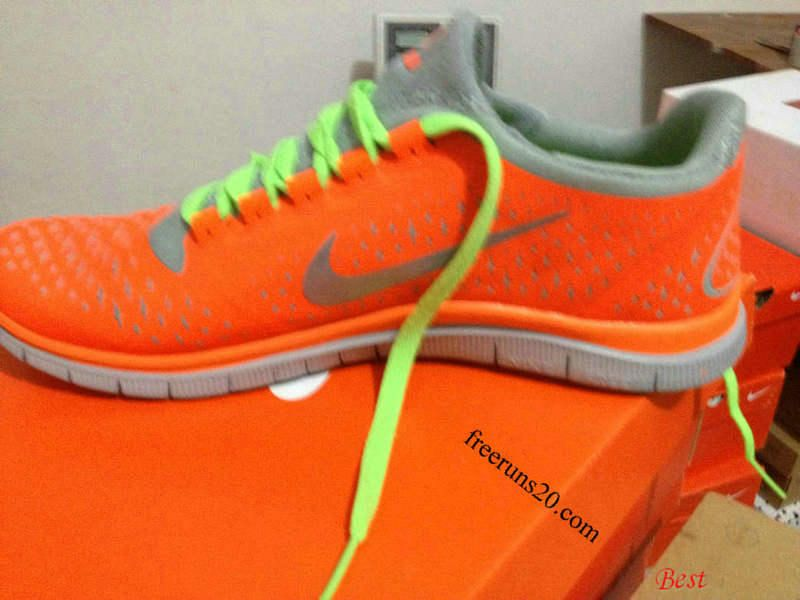 Mens Nike Free 3.0 V4 Total Orange Reflect Silver Wolf Grey Lime Green Lace Shoes $ 54.39