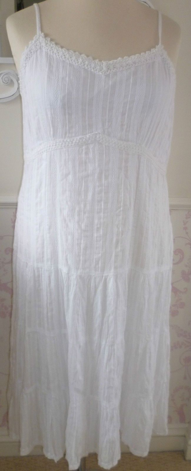 BON Marche White Strappy Tiered SUN Dress SZ 16 18 BNWT Hippy Boho Peasant Lined | eBay