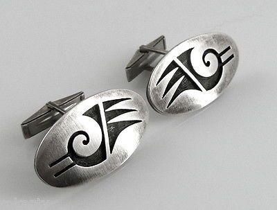 BIG Vintage 1960s 70s Hubert Yowytewa Hopi Sterling Silver BIRD Design CUFFLINKS