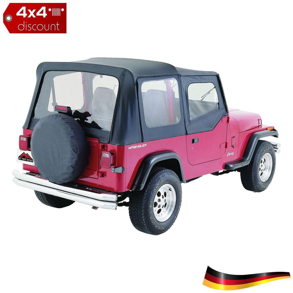 Softtop Verdeck Nein Schwarz Denim Jeep Wrangler Yj 1987 1995 Soft Tops Tire Cover Black Vinyl
