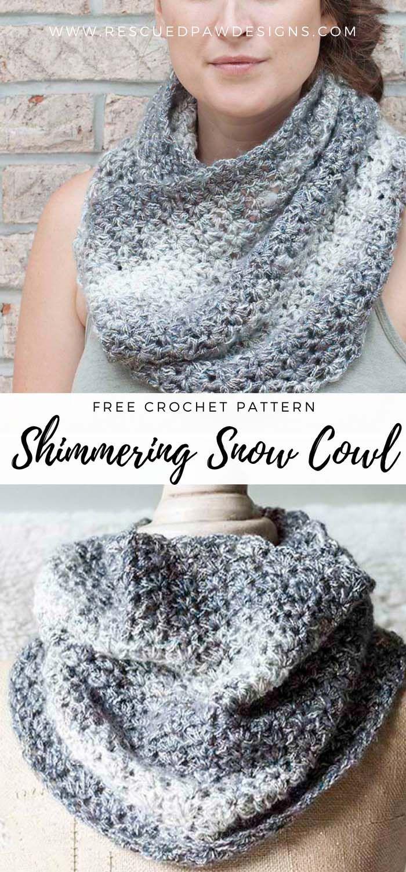 Free Shimmering Snow Cowl Crochet Pattern | Ganchillo, Nudo y Capilla
