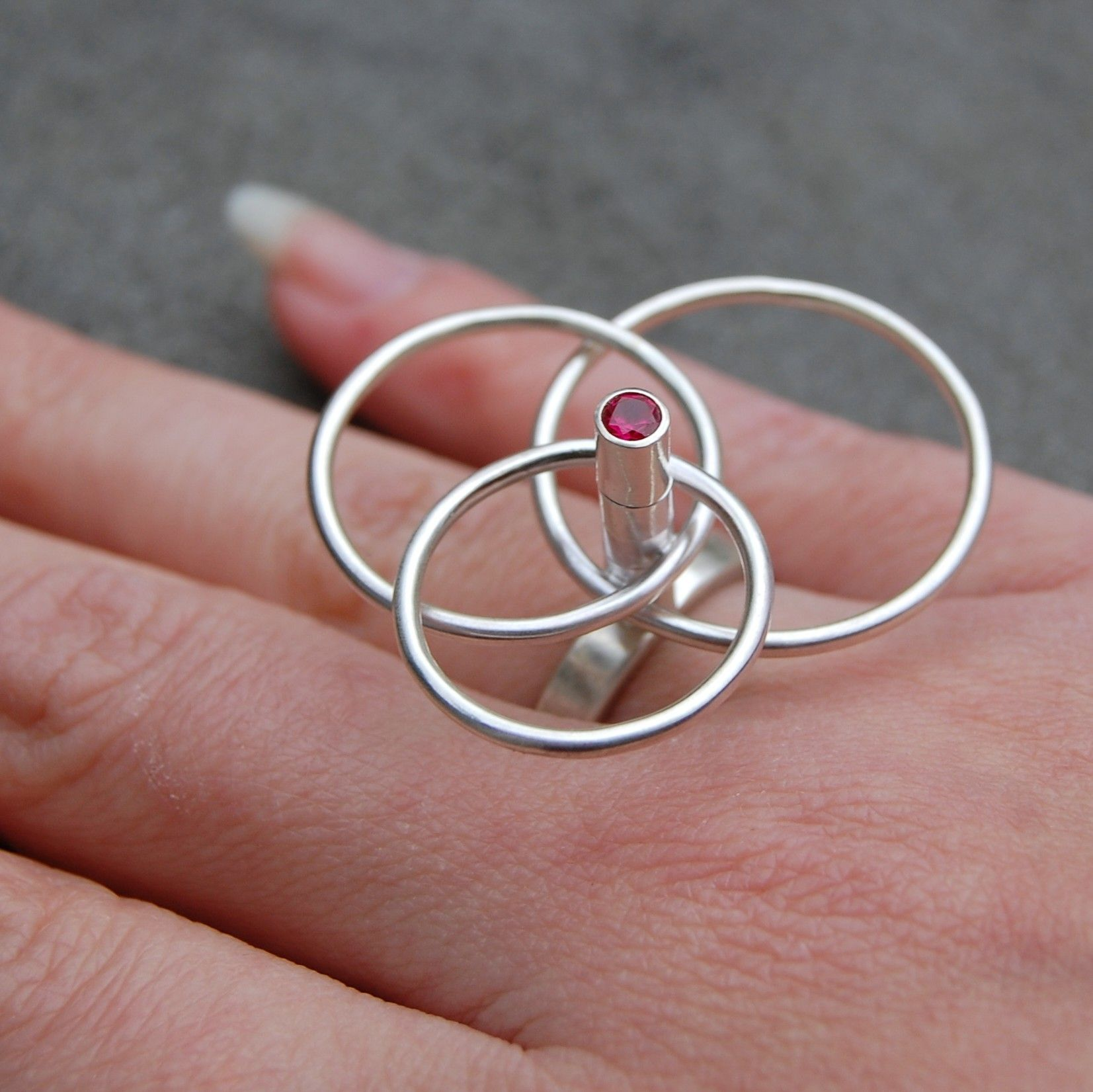 Silver Spinning Ring Sterling Silver with Pink by lsueszabo