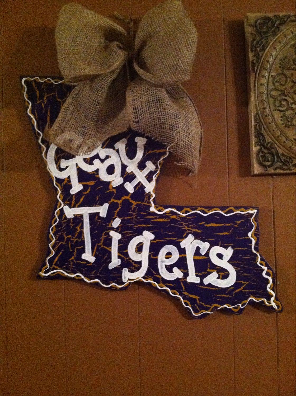 LSU Geaux Tigers Louisiana State Door Hanger by CrossHerArt on Etsy