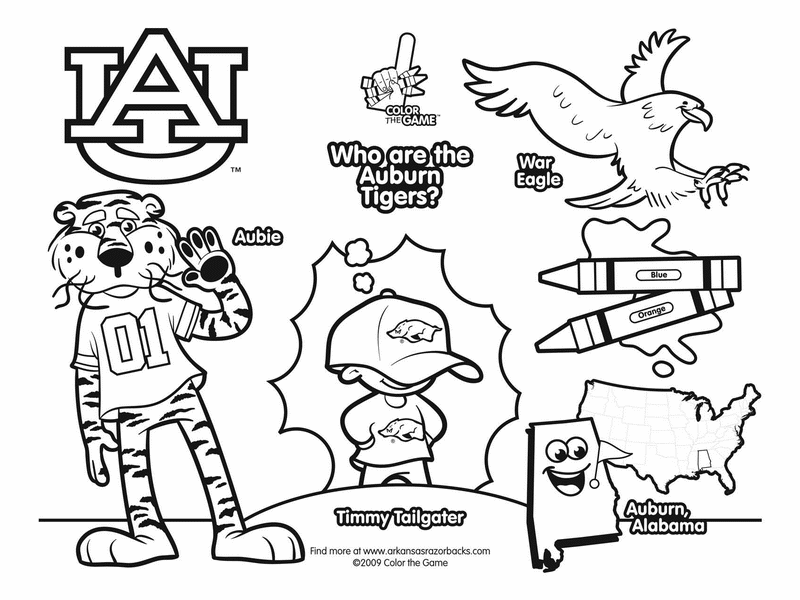 Auburn Tigers College Football Coloring Pages Perfect Way For The Girls To Decorate For The Big Game Football Coloring Pages Auburn Football Auburn