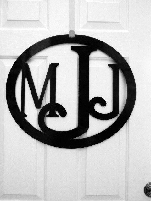 Custom Metal monogram door hanger monogrammed by housesensations