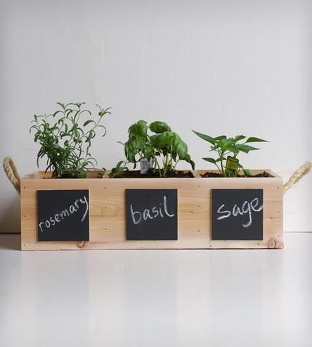 Indoor Outdoor Herb Garden With Chalkboard Placards By Meriwether Of Montana Modern Planters Etsy