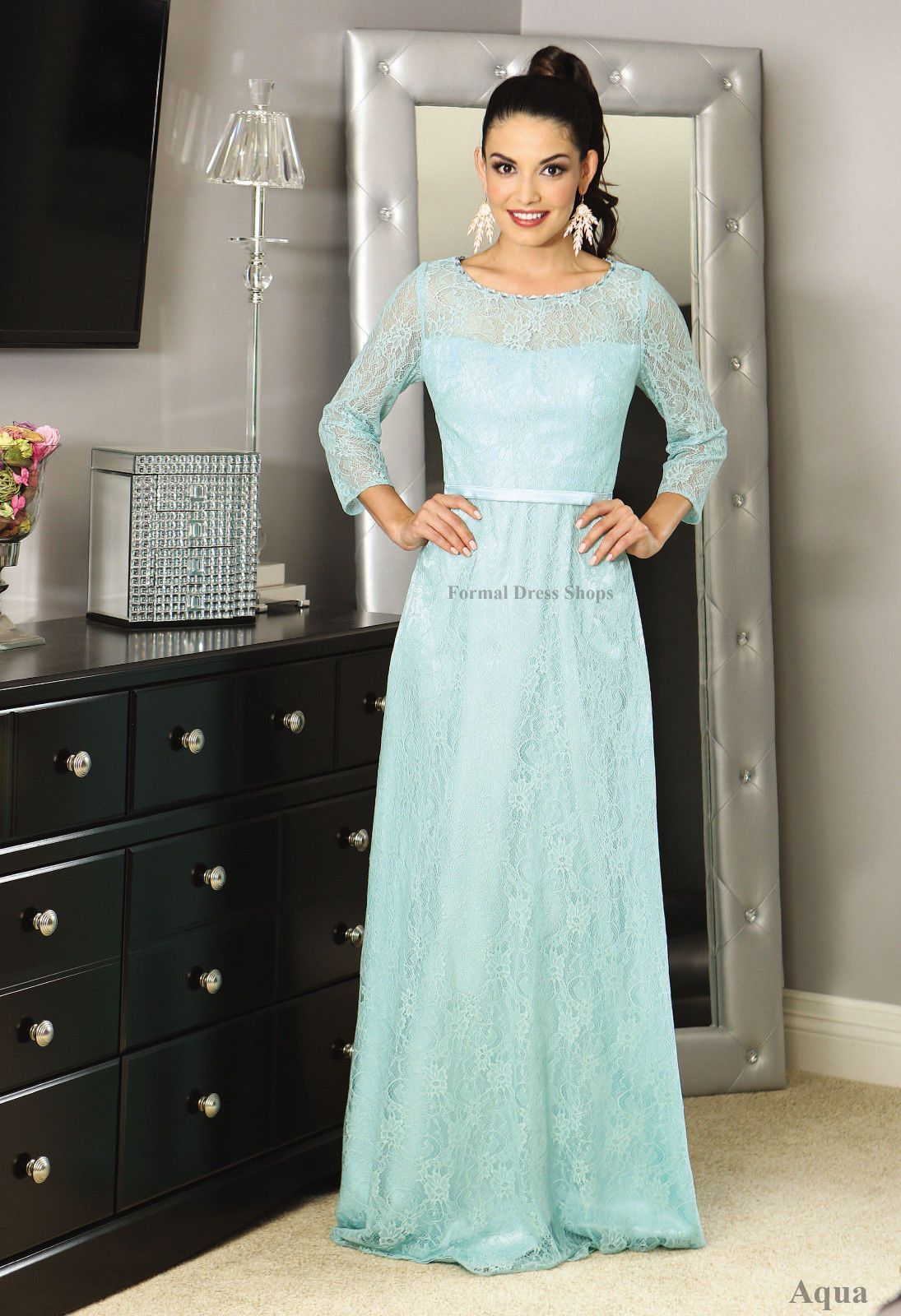 sleeve mother of the bride evening formal dress designer gown