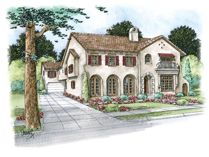 Mediterranean House Plan with 4839 Square Feet and 4 Bedrooms from