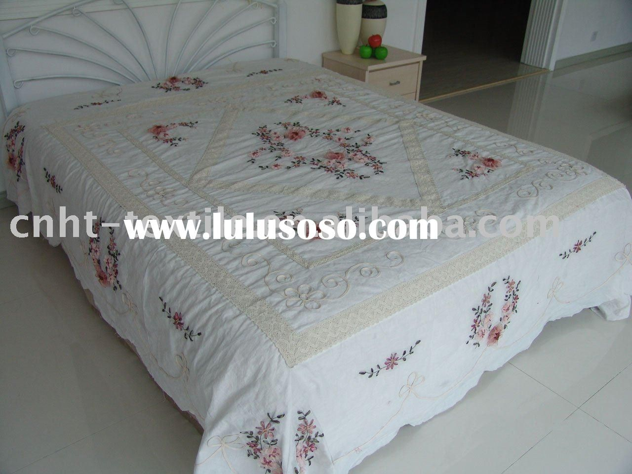 Ribbon work bed sheets designs - Ribbon Embroidery Designs 2011 New Design Ribbon Embroidery Bedspread Embroidery Flower Design