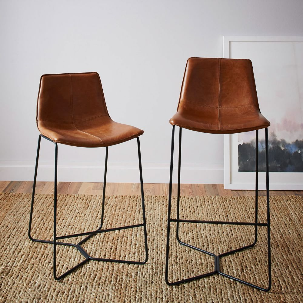 Slope Leather Bar Counter Stools In 2021 Leather Counter Stools Leather Bar Stools Kitchen Stools