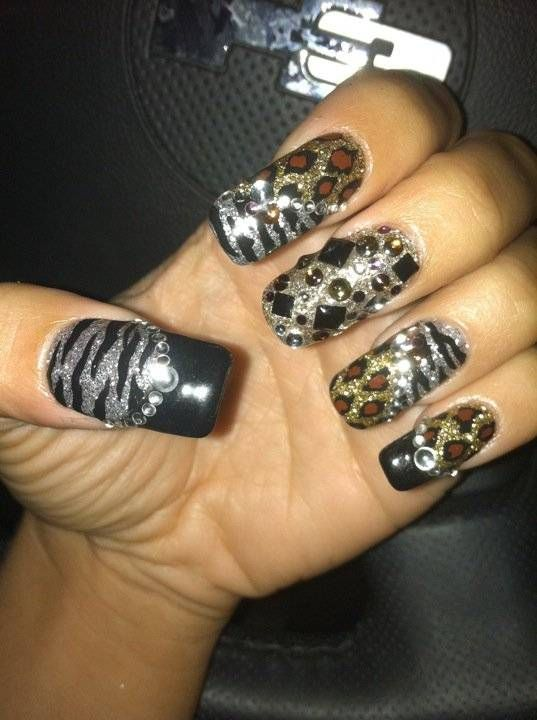 bedazzled animal print nails, Olivia of \