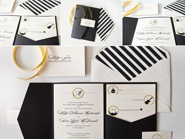 Chic striped envelope liner with Ebony Pocketfold