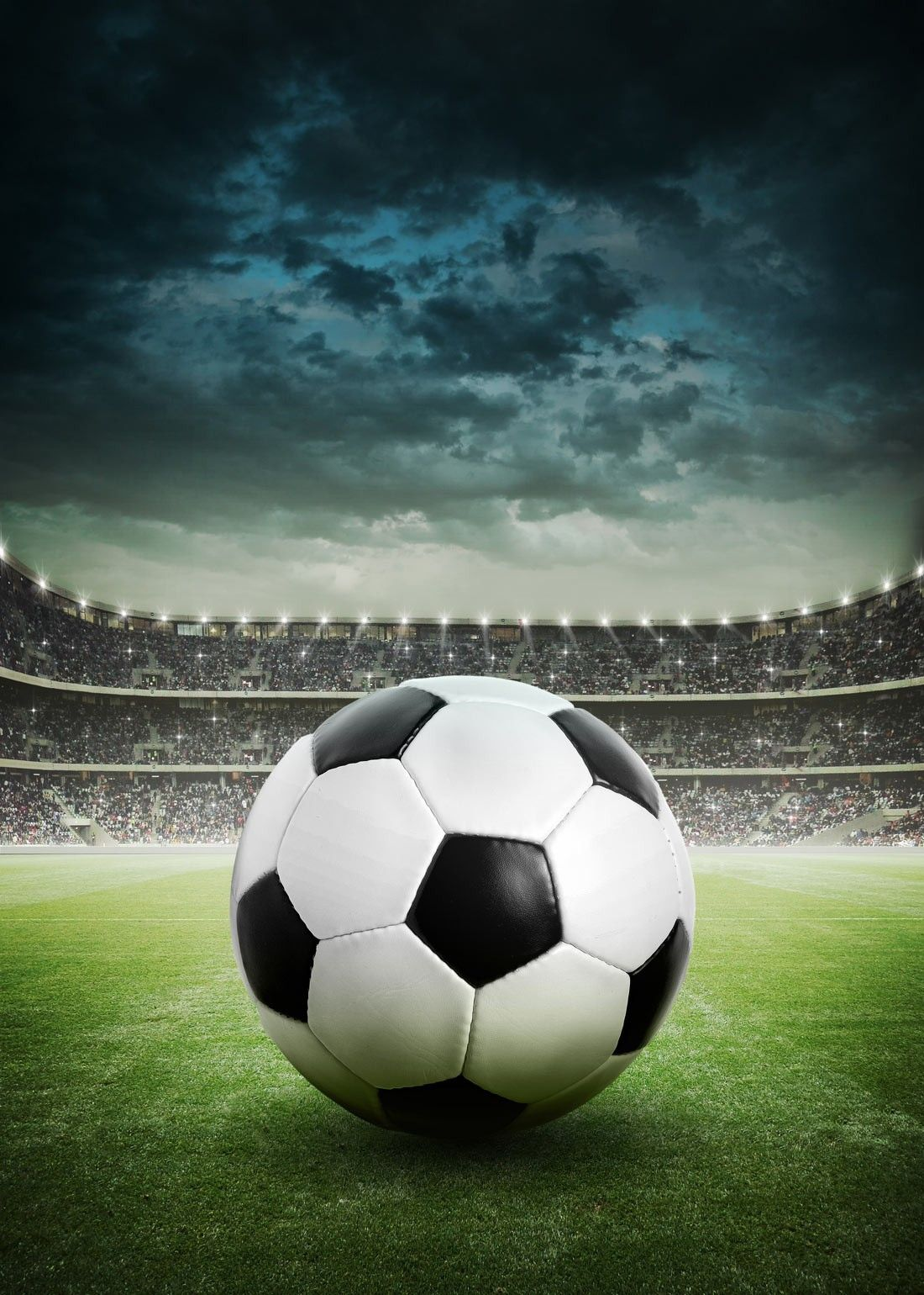 Stormy Soccer Stadium Wall Mural: Sports: Soccer: A Lone Soccer Ball Is The Part 85