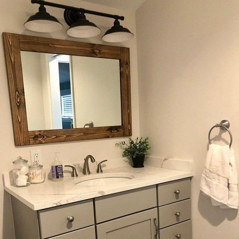 Dark walnut frame mirror farmhouse mirror framed mirror