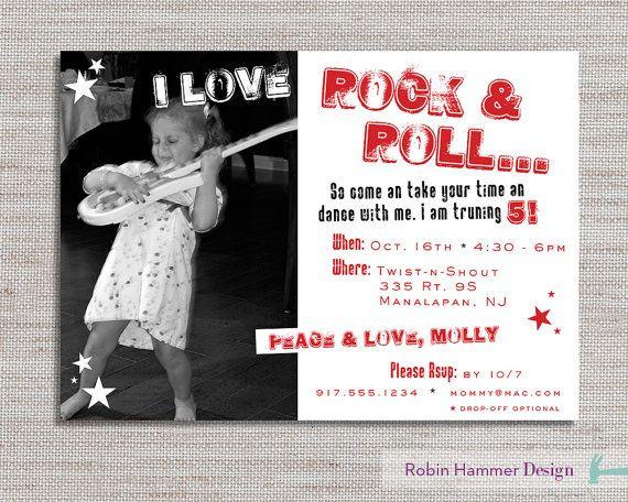 Rock N Roll Birthday Party Invite Star
