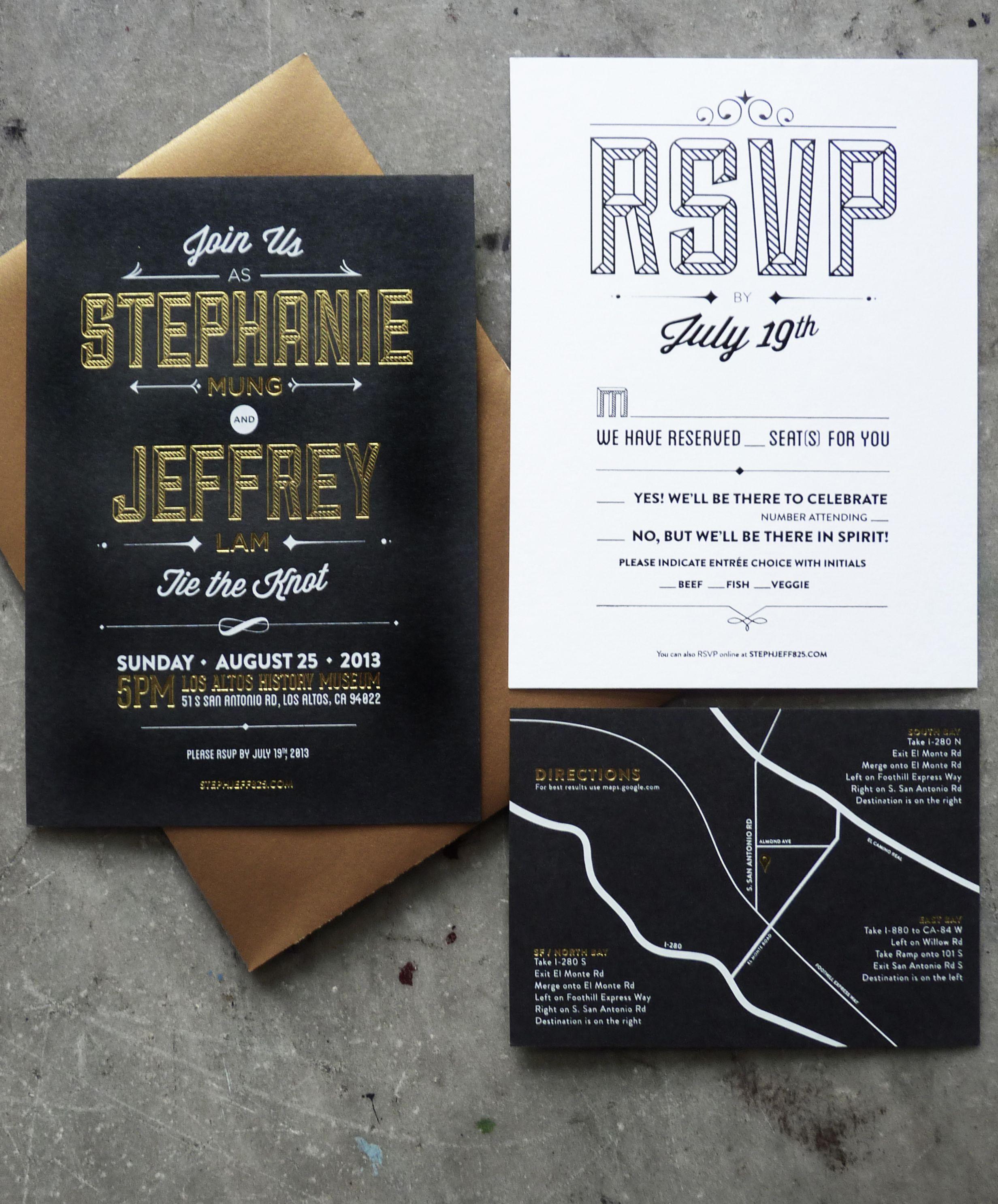 Foil stamped wedding invitations gold white u black ink printed