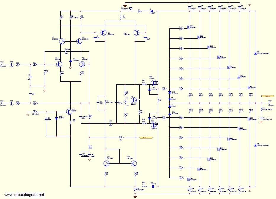 800W high power mosfet amplifier Schematic Diagram - schematic ...