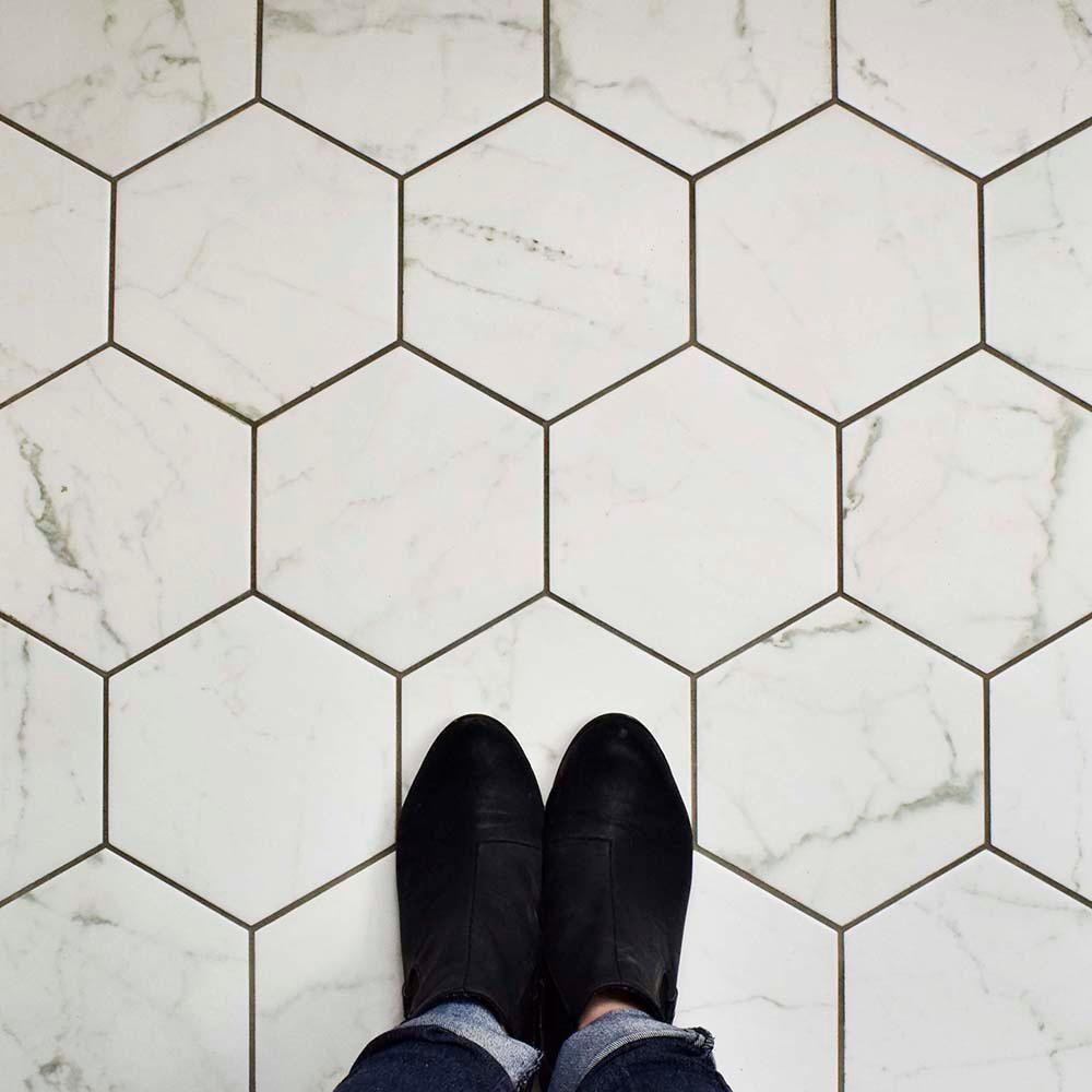 Merola Tile Classico Carrara Hexagon 7 In X 8 In