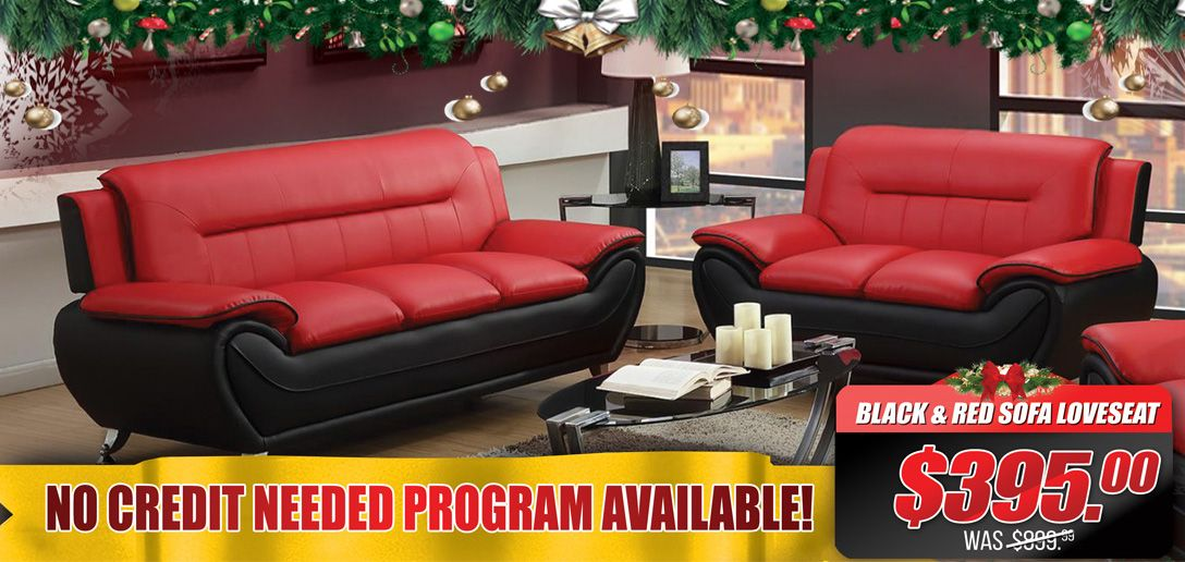 Christmas Sales Sneak Peek! Black & Red Sofa loveseat set is ...