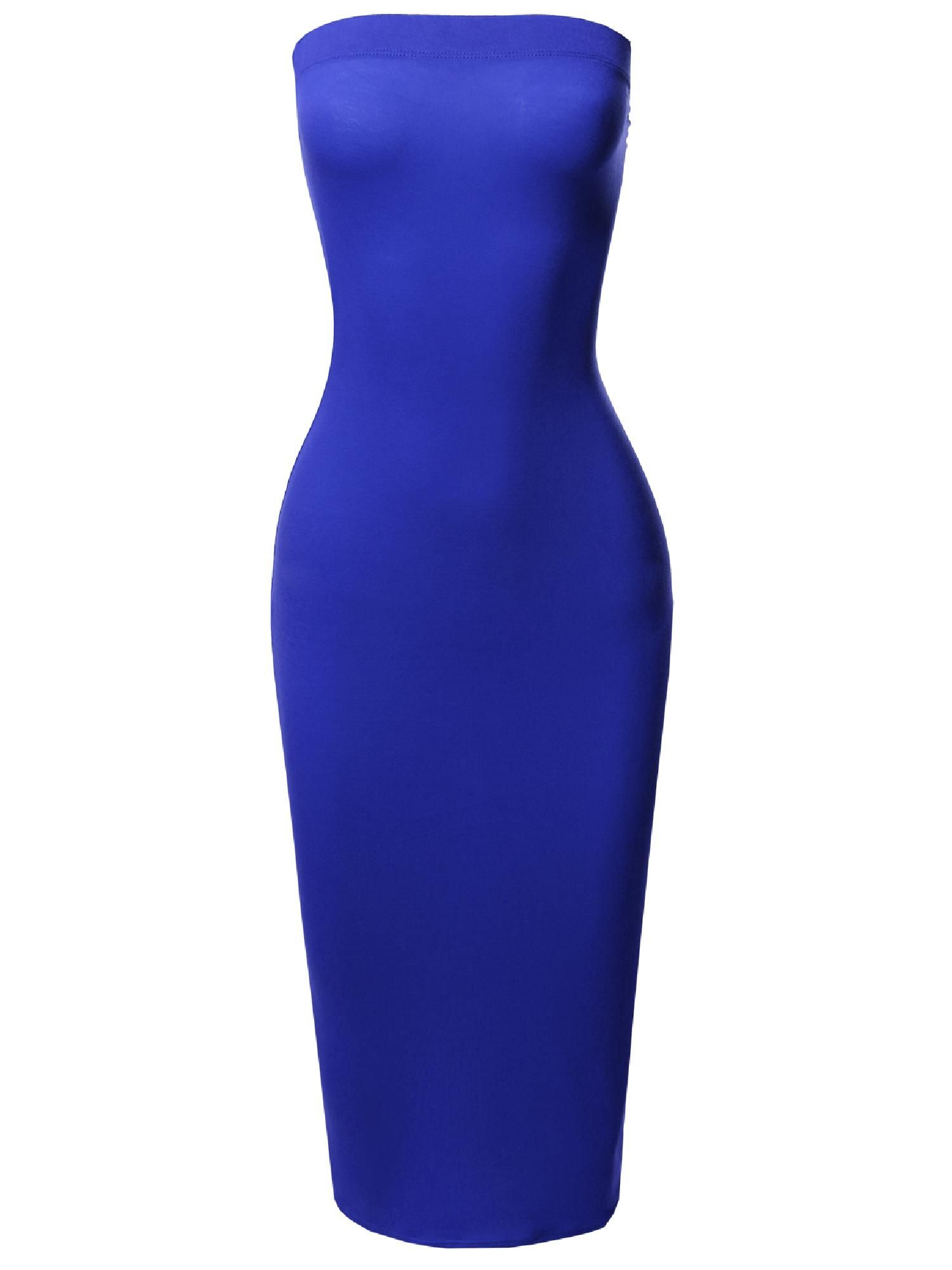 a8b5a10226a FashionOutfit Women s Solid Stretchable Body-Con Midi Tube Dress - Made in  USA Stretchable
