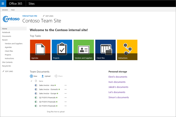 A team site with promoted links on the Home page | Microsoft