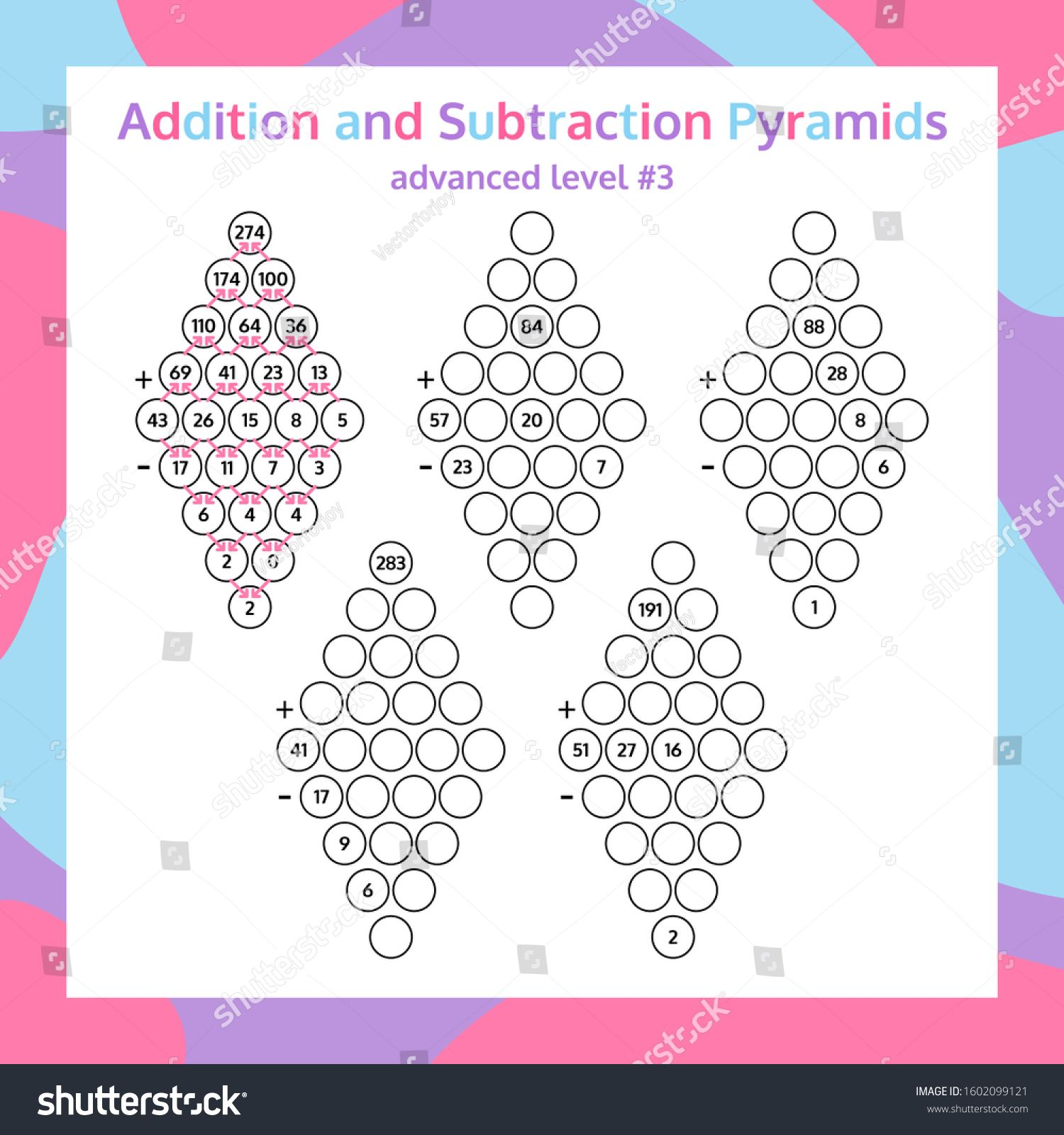 Addition And Subtraction Pyramid Set Educational Math
