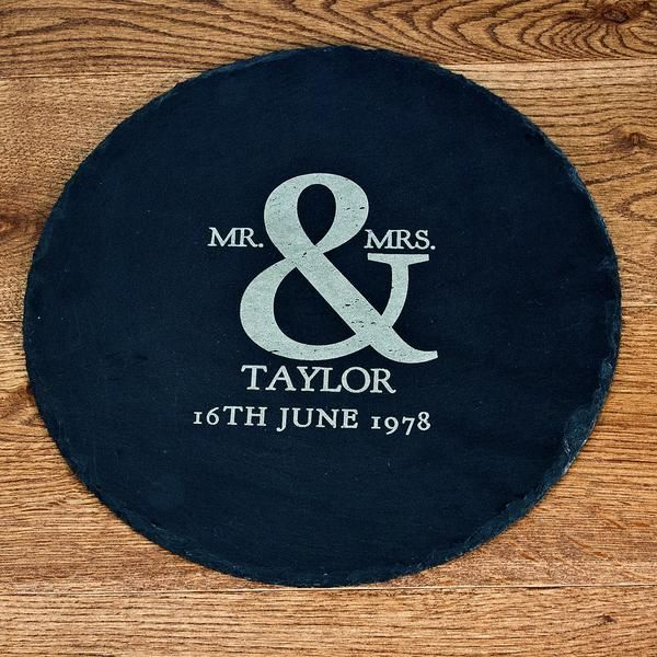 Wedding Gifts Online: Couple's 'Mr & Mrs' Personalised Round Slate Cheese Board