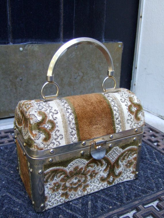 BORSA BELLA Elegant Brocade Trunk Style Handbag Made in Italy