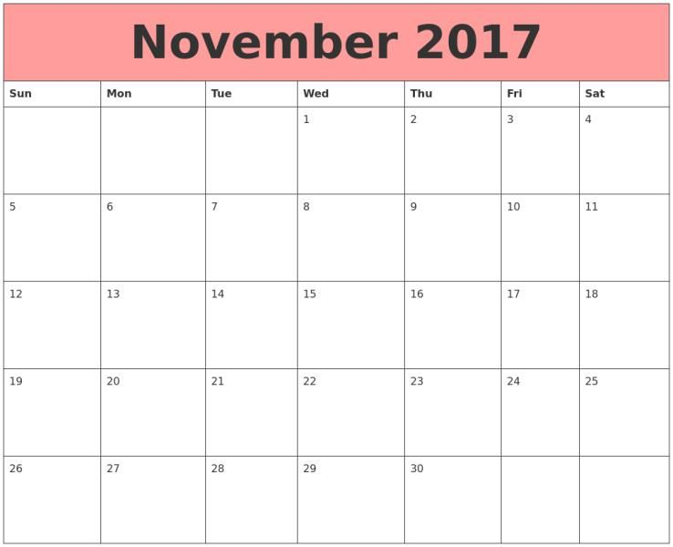 November Calendar  In Pdf Word Excel HttpMobispiritCom
