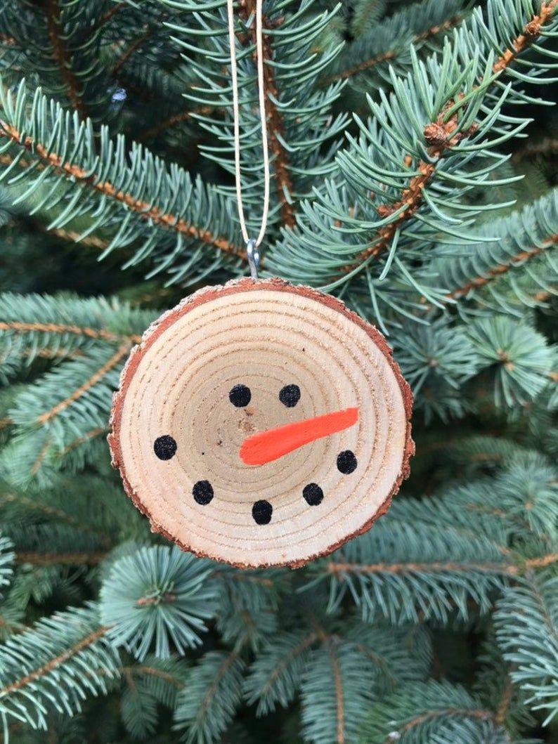Natural Snowman Wood Slice Christmas Ornament Christmas