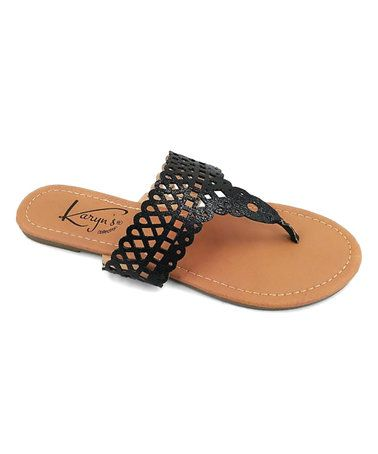This Black Perforated Slip-On Sandal is perfect! #zulilyfinds