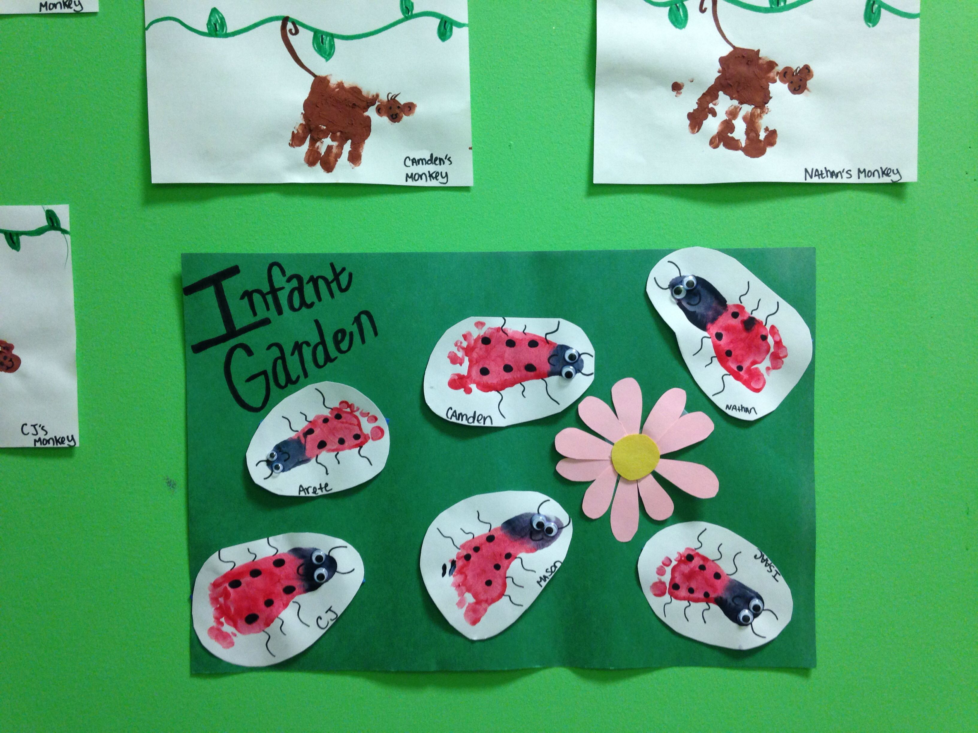 Ladybug Footprints For Infant Class Art Project For Summer