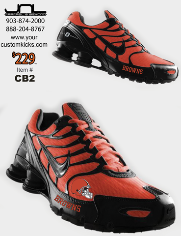 finest selection 1afe0 a6f8a Custom Cleveland Browns Nike Turbo Shox Team Shoes – JNL ...