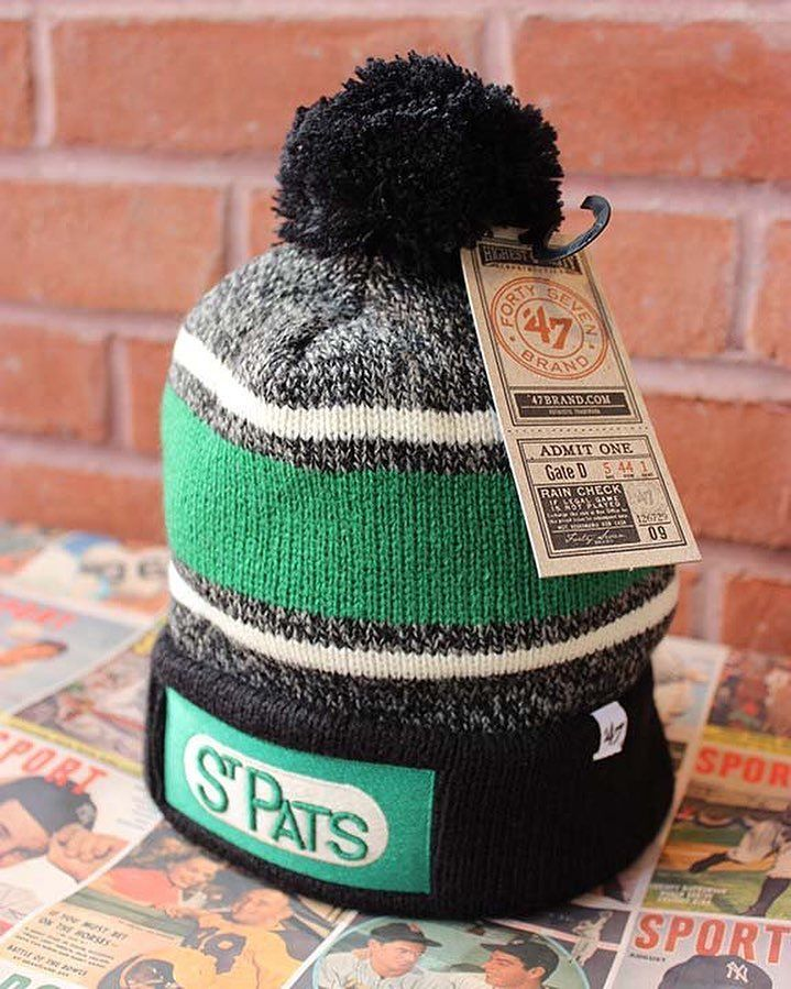 Celebrate #StPatricksDay in style!  Grab your Toronto St. Pat's toque at our #Toronto location.  #StPaddys #Ireland #Irish #green #hockey #NHL #StPats #sports #sportsapparel #vintage #style #vintageinspired #DistilleryDistrict