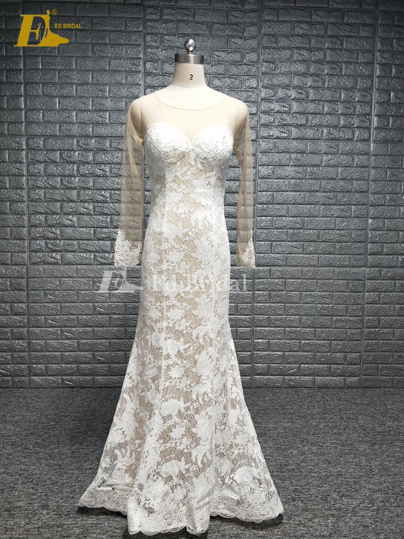 Longsleeve Lace Ed Real Sample Wedding Dress Whats 008615152463038