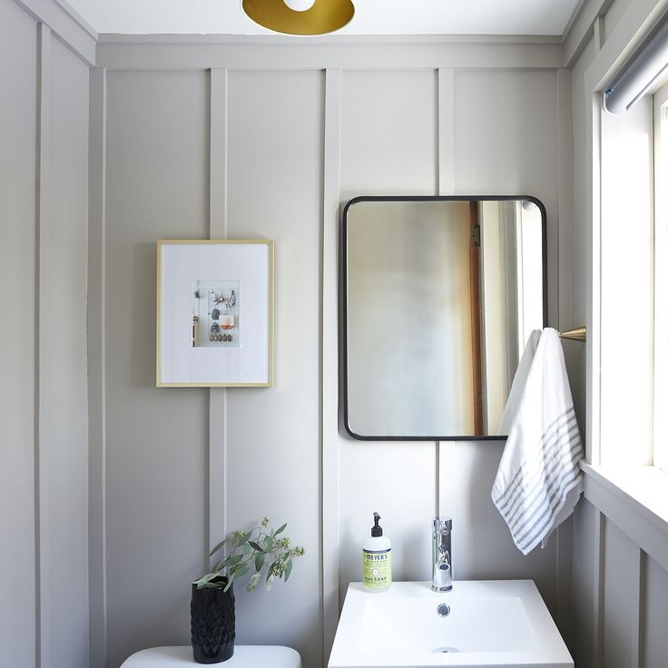 modern bathroom design with board and batten, Before & After: Layers of Frills Become a Modern Board & Batten Powder Room – Design*Sponge #boardandbattenwall