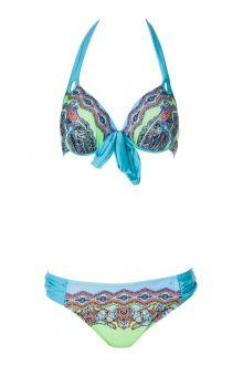 Green Print Halter Bikini Set