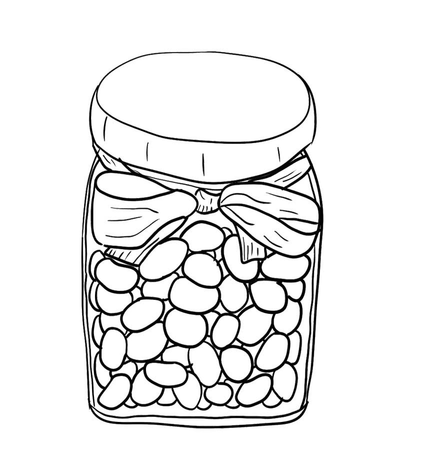 Jelly Beans In Jar Coloring Page For Kids Candy Coloring Pages