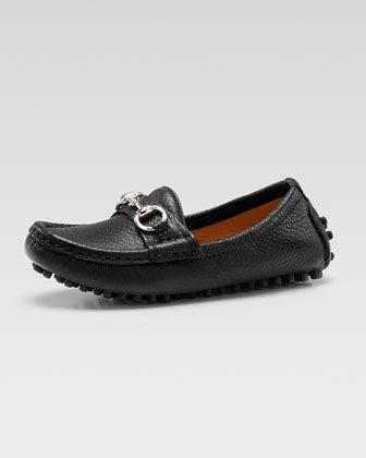 2d52f406d Damo Leather Driving Loafer, Black, Youth by Gucci at Neiman Marcus.  OMGosh!! Super adorable.