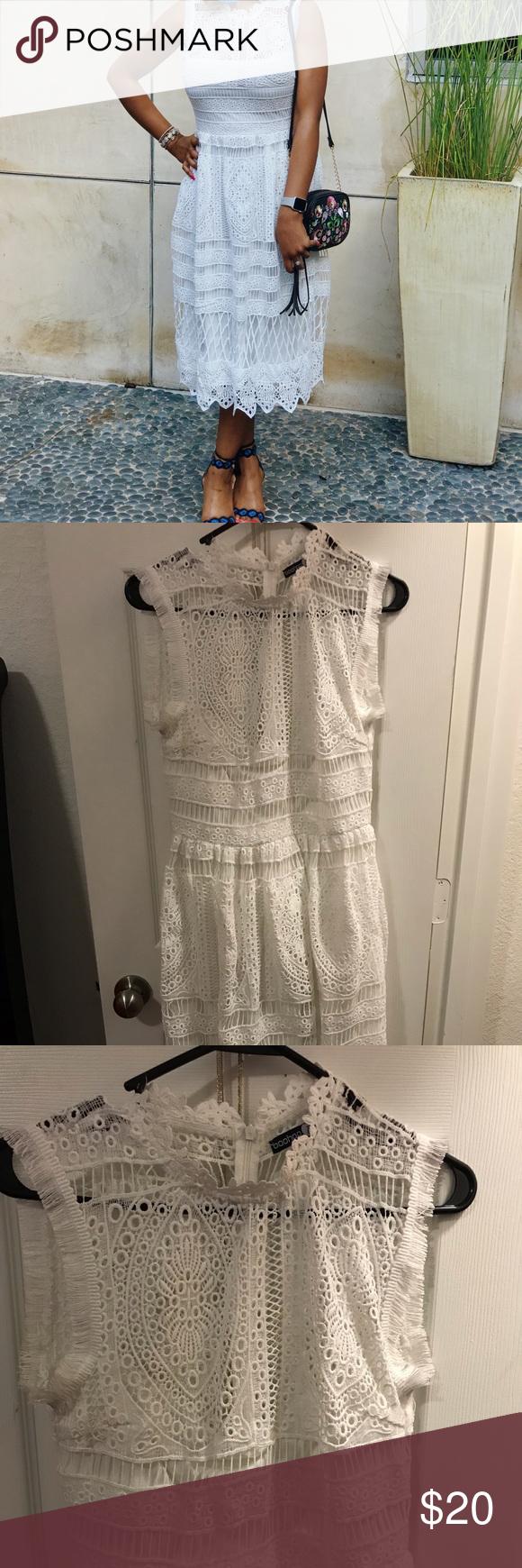Boohoo White Lace Dress In 2020 Lace White Dress Lace Dress White Lace [ 1740 x 580 Pixel ]