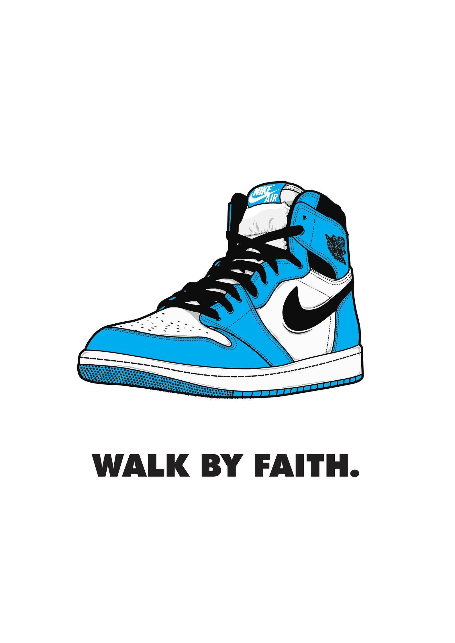 Walk By Faith Poster Air Jordan 1 Blue Digital Print Etsy Air Jordans Sneaker Posters Jordan Logo Wallpaper Trends for air jordan 1 shoes wallpaper