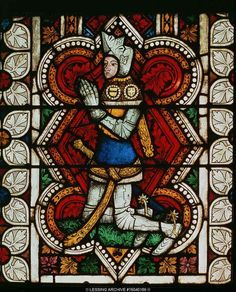 MEDIEVAL STAINED GLASS WINDOW 14TH CENTURY A Praying Knight In Armour Stained Glass Window Castle