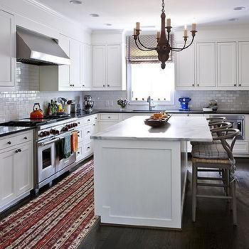 White Kitchen Island With Gray Wishbone Counter Stools Transitional Overhang
