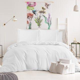 Nestl Bedding 1000TC Cotton Blend 6-Piece Duvet Cover and Sheet Set (White - King)