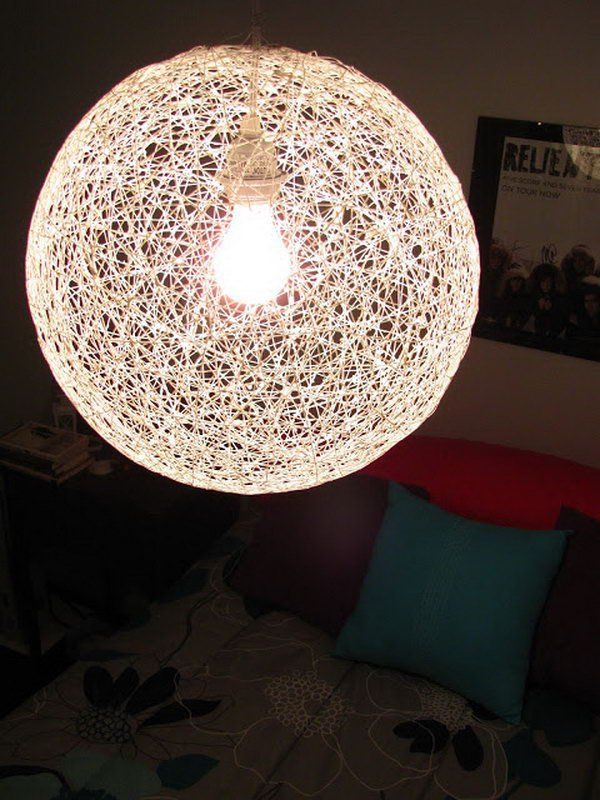 Create your own pendants to brighten up a space in a whimsical way diy string chandelier from a bouncy ball and yarn mozeypictures Images